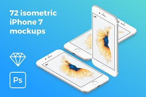 72 isometric iPhone 7 mockups