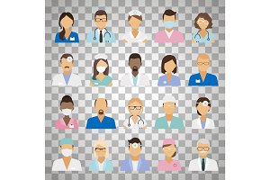 Medical staff avatars on transparent background