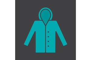 Raincoat glyph color icon