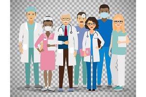 Medical team on transparent background