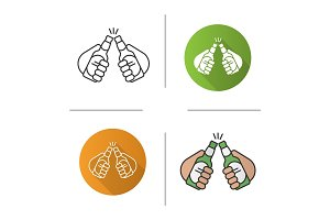 Toasting beer bottles in hands icon