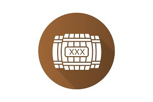 Alcohol wooden barrels flat design long shadow glyph icon
