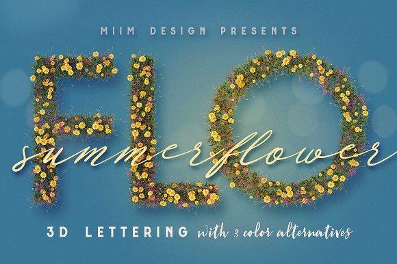 Summer Flower 3D Lettering