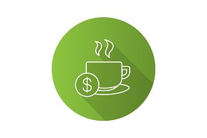 Buy cup of tea flat linear long shadow icon