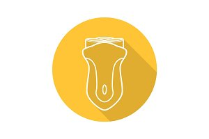 Electric shaver flat linear long shadow icon