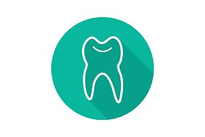 Human tooth flat linear long shadow icon