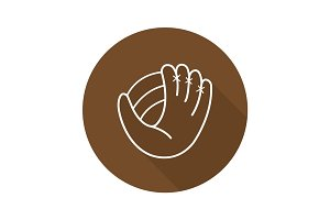 Baseball glove flat linear long shadow icon