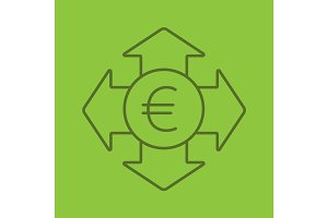 Money spending color linear icon