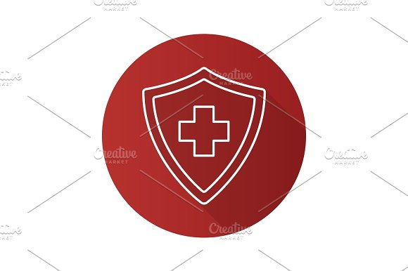 Medical Insurance Flat Linear Long Shadow Icon