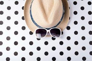 Straw beach woman's hat sun glasses