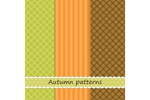 Set of three primitive retro patterns in autumn colors for your decoration