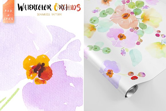 Orchids watercolor pattern