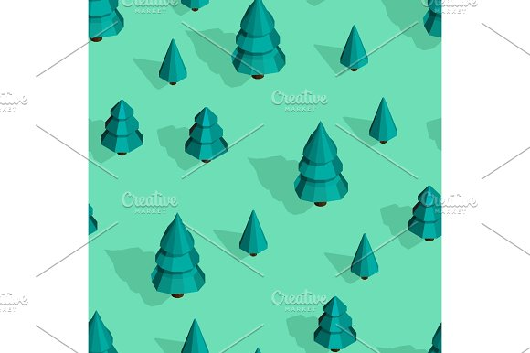 Seamless Pattern With Isometric Trees