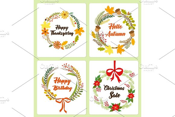 Set of cute hand drawn vintage floral rustic wreathes for your decoration