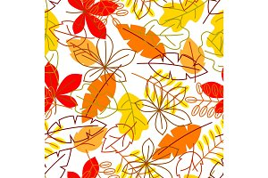 Seamless floral pattern with stylized autumn foliage. Falling leaves in simple style