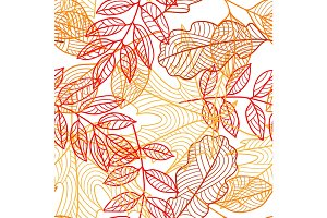 Seamless floral pattern with stylized autumn foliage. Falling leaves