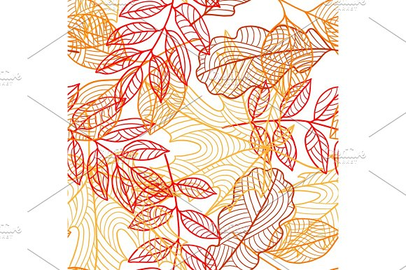 Seamless Floral Pattern With Stylized Autumn Foliage Falling Leaves