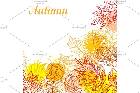 Floral background with stylized autumn foliage. Falling leaves