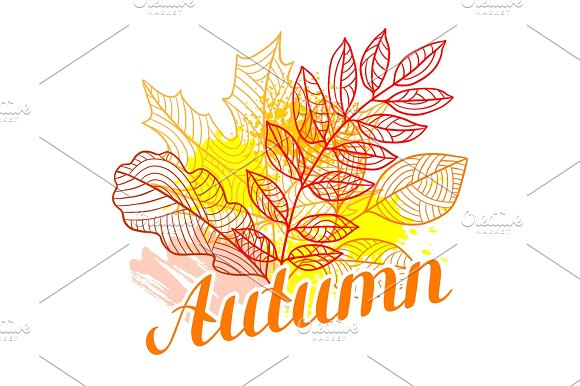 Floral Background With Stylized Autumn Foliage Falling Leaves
