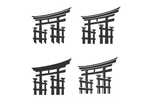 Japan gate torii silhouette set