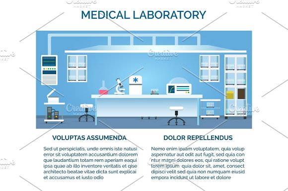 Medical laboratory interior in Illustrations