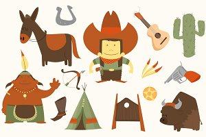 Cowboy western clip-art pack