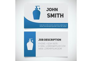 Business card print template with liquid soap logo