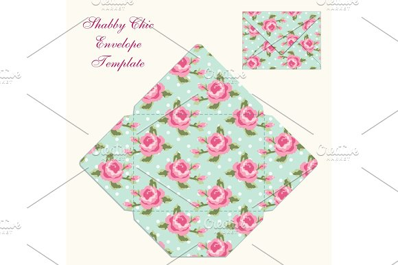Cute Retro Envelope Template With Ornament In Shabby Chic Style