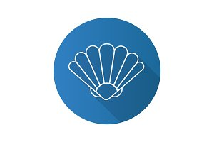 Seashell flat linear long shadow icon