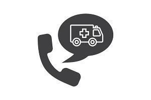Phone call to ambulance glyph icon