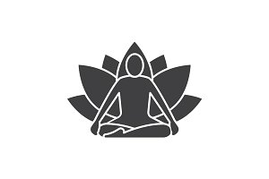 Yoga position glyph icon