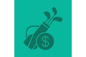 Golf equipment shop glyph color icon