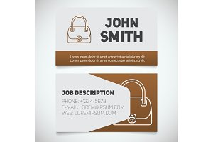 Business card print template with handbag logo