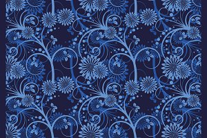 Floral background blue
