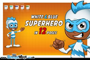 White & Blue Superhero In 12 Poses