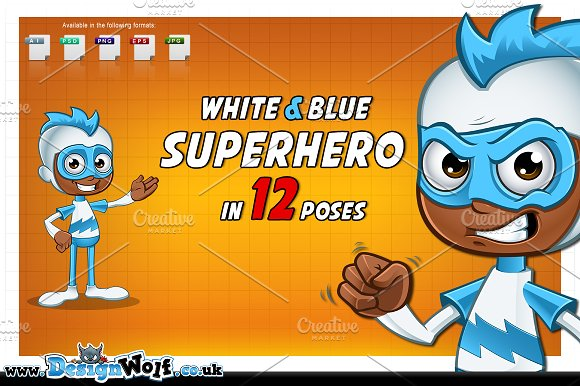 White Blue Superhero In 12 Poses