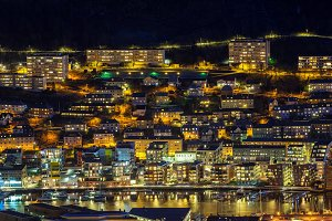 Top view of Bergen cityscape, Norway