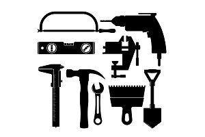 set of silhouettes of tools