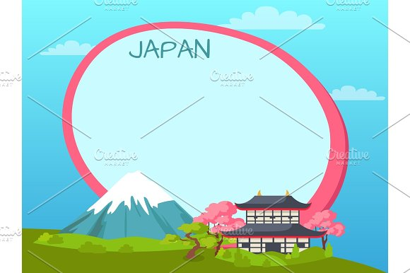 Japan Inscription On Tag Near Sakura And Mountains