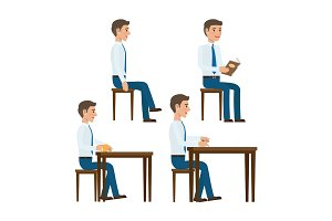 Seating Office Worker Vector Templates Set