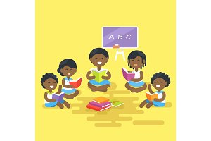 African Children Read Books Isolated Illustration