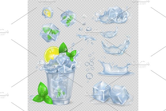 Glass With Water Lemon Slice Green Mint And Ice