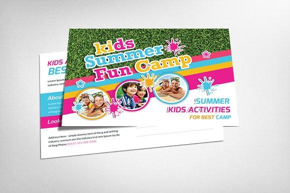 kids summer camp postcard template card templates creative market. Black Bedroom Furniture Sets. Home Design Ideas