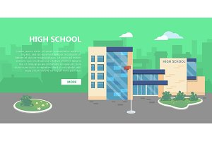 High School Building Vector in Flat Style Design
