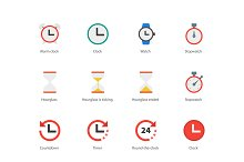 Time and Clock color icons on white