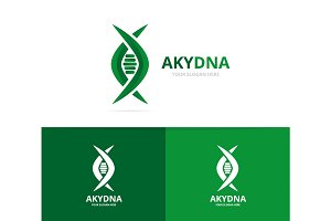 Vector of dna and genetic logo combination. Science and helix symbol or icon. Unique spiral and evolution logotype design template.