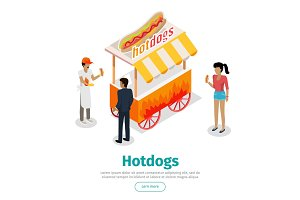 Hotdogs Conceptual Isometric Vector Web Banner