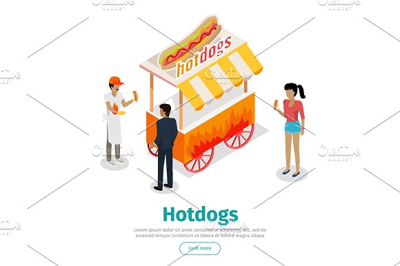 Hotdogs Conceptual Isometric Vector Web Banner