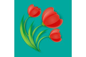 Background three red tulip flowers with green leaves vector illustration