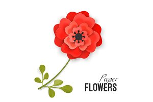 Paper flower lush red peony on small stem with leaves isolated vector